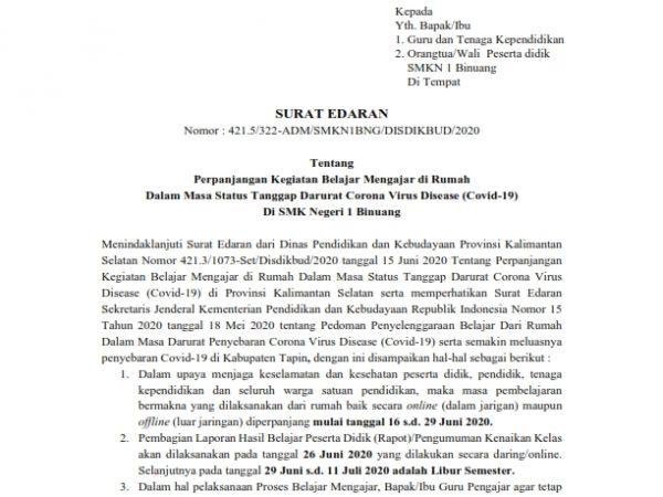 Perpanjangan Belajar di Rumah SMKN 1 Binuang (Periode V)